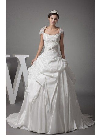 Lace Cap Sleeved White Ballgown Taffeta Wedding Dress