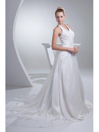 Long Halter Train Length Taffeta Wedding Dress Open Back