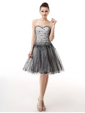 Sweetheart Short Beaded Sequined Puffy Tulle Prom Dress