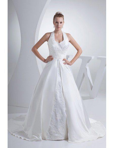Open Back Long Halter Lace Split Design Wedding Dress
