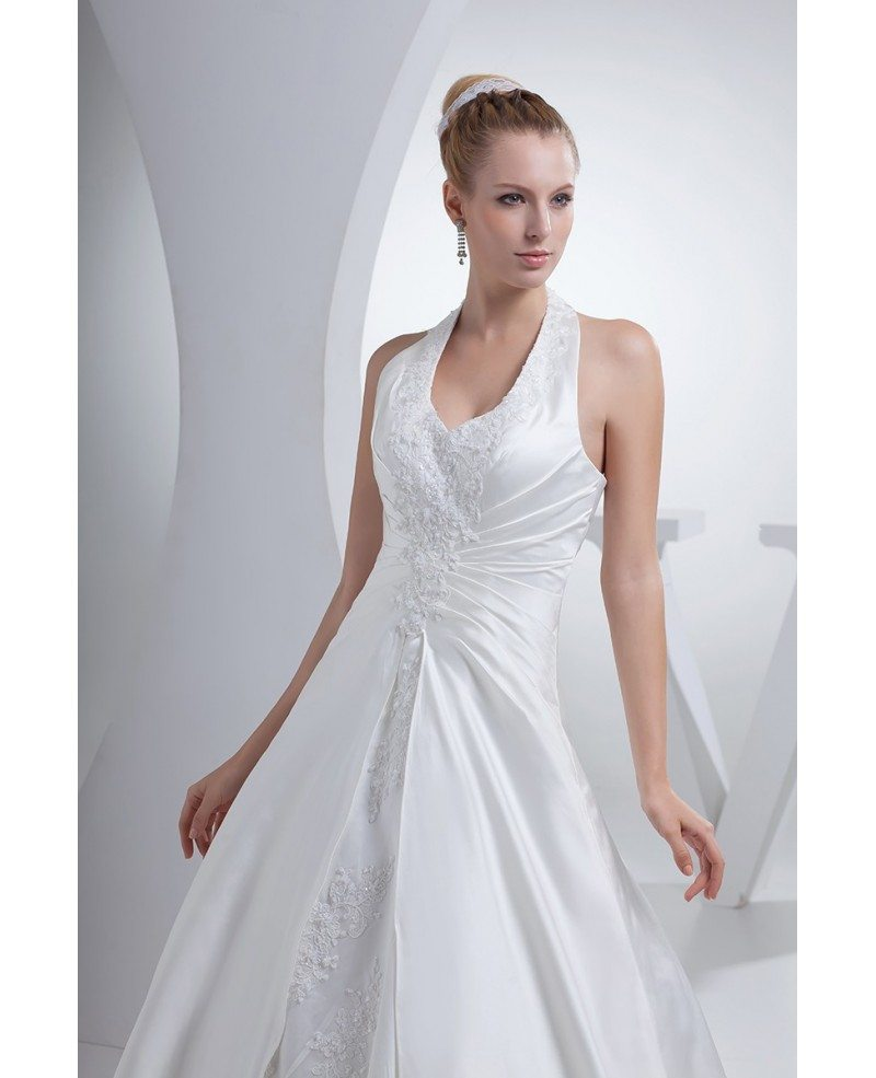 All Lace Wedding Dress: Open Back Long Halter Lace Split Design Wedding Dress