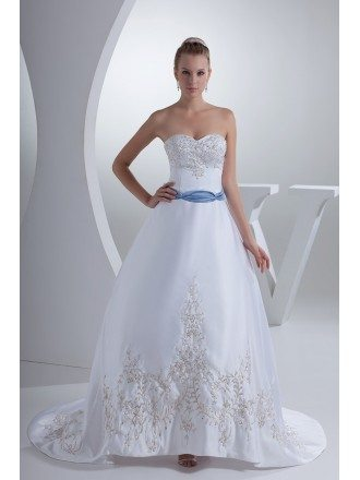 Classic Sweetheart Embroidery White with Blue Color Wedding Dress
