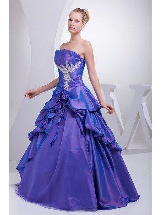 Purple Taffeta Lace Ruffles Ballgown Colored Wedding Dress