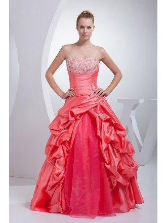 Red and Pink Taffeta Strapless Wedding Dress Ballgown