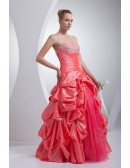 Red and Pink Taffeta Strapless Wedding Dress Ballgown