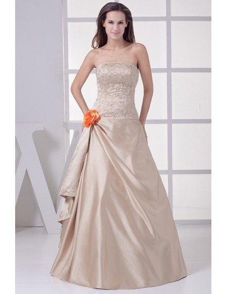 Strapless Embroidered Champagne Color Wedding Dress With Flower Oph1192 215 Gemgrace