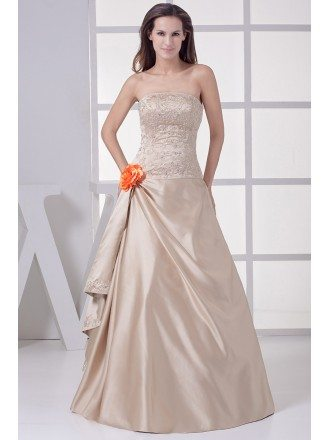 Strapless Embroidered Champagne Color Wedding Dress with Flower