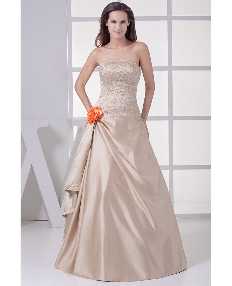 Champagne Color Wedding Dress With Flower