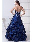 Classic Royal Blue Lace Taffeta Ruffles Wedding Dress Strapless