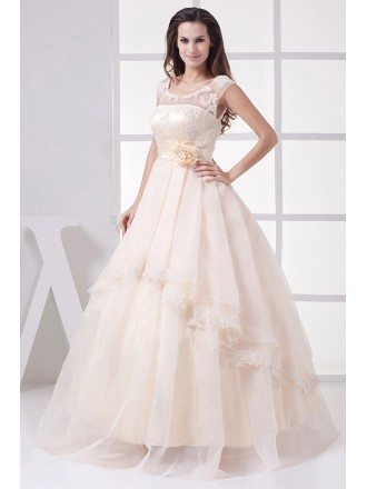 Gorgeous Empire Waist Long Tulle Ballgown Wedding Dress with Flower
