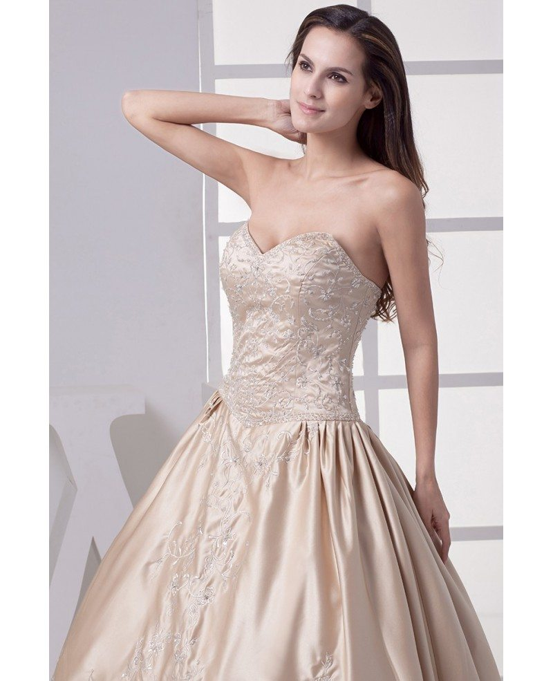 Color Wedding Gown: Classic Champagne Sweetheart Embroidered Ballgown Color