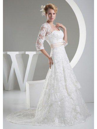 Beautiful Full Lace Tulle Aline Wedding Dress with Jacket
