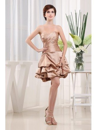 A-line Strapless Short Satin Cocktail Dress