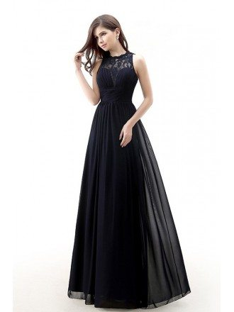 Modest Long Lace Empire Chiffon Bridesmaid Dress