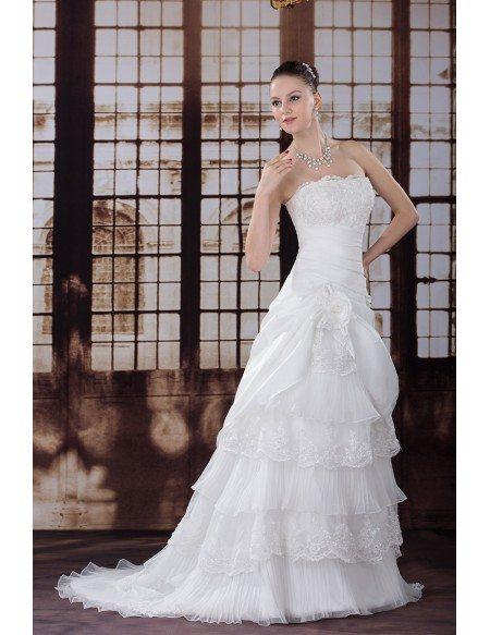 Beautiful Layered Taffeta Strapless Wedding Dress