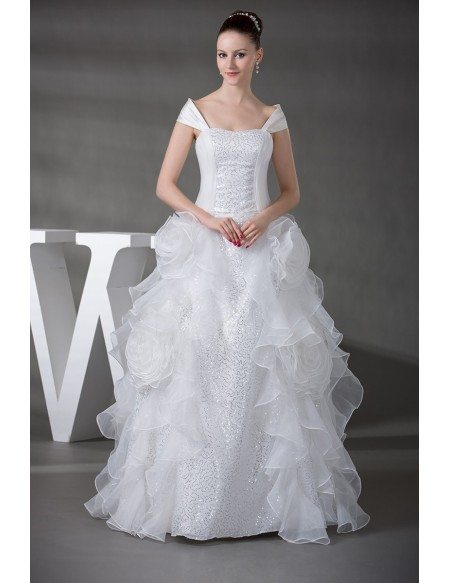 Off the Shoulder Cascading Ruffles Sequined Wedding Gown