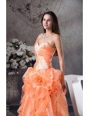 Orange Handmade Flowers Lace Sweetheart Colored Wedding Dress