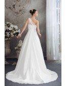 One Strap Simple Aline Lace Wedding Dress