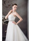 Strapless Lace Tulle Beaded Wedding Dress with Bling