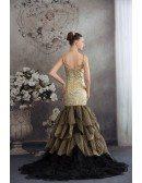 Chic Gold with Black Long Halter Vneck Mermaid Formal Dress