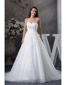Sequined Lace Aline Long Tulle Wedding Dress with Corset Back