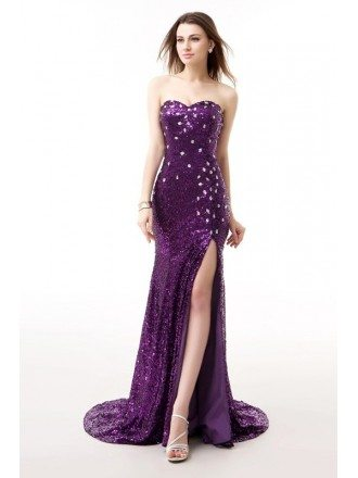 Grape Sweetheart Sparkly Long Train Split Front Prom Dress with Corset