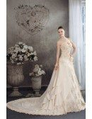 Champagne Sequined Lace Long Train Sweetheart Wedding Dress