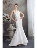 Long Halter White Fitted Mermaid Taffeta Wedding Dress