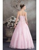 Sequined Pink Organza Colored Wedding Dress Ballgown