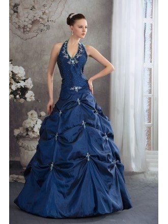 Royal Blue Beaded Long Halter Pickups Open Back Wedding Dress in Taffeta