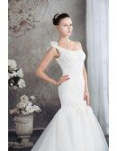 One Shoulder Mermaid Organza Wedding Dress with Train