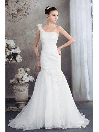 One Shoulder Mermaid Organza Wedding Dress with Train