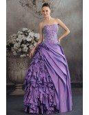 Purple Taffeta Ruffles Silver Embroidery Colored Wedding Dress