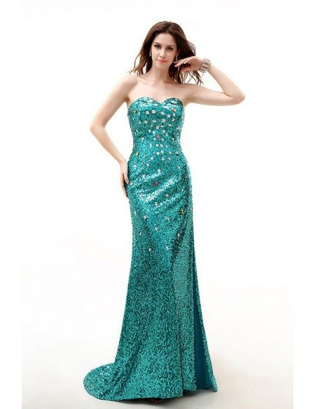 Jade Sweetheart Sparkly Long Train Split Front Prom Dress with Corset