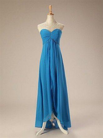 A-line Long Sweetheart Chiffon Bridesmaid Dress