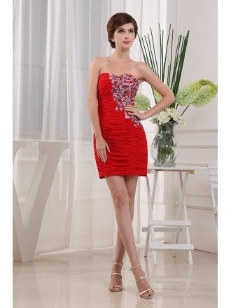 Sheath Sweetheart Short Chiffon Cocktail Dress With Appliques Lace