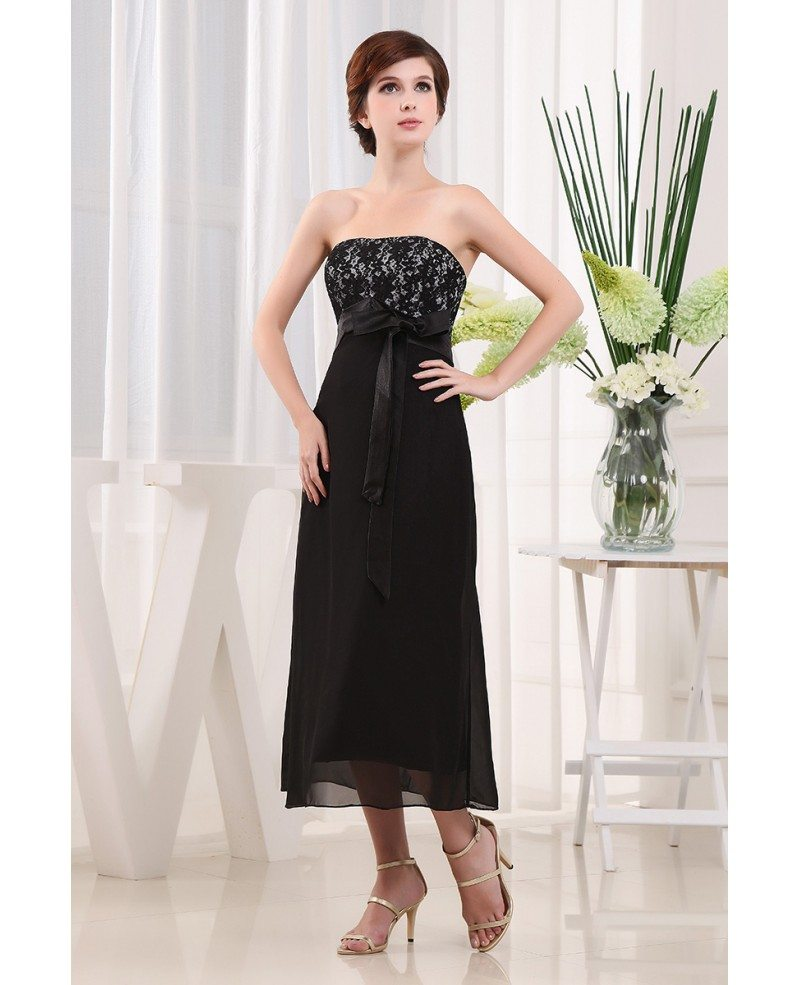 Ankle Length Chiffon Lace Bridesmaid Dress: A-line Strapless Ankle-length Chiffon Lace Bridesmaid
