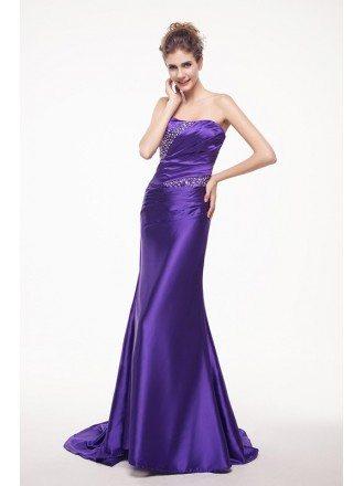 Sweetheart Beaded Pleated Long Train Length Prom Dress