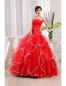 A-line Strapless Floor-length Tulle Prom Dress With Cascading Ruffle