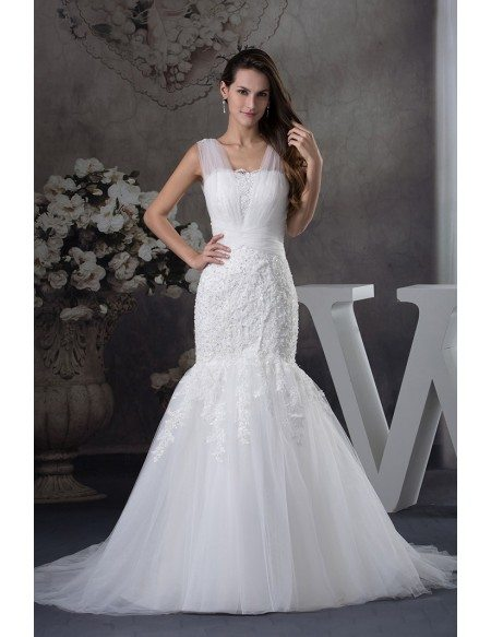 Gorgeous Tulle Straps Fitted Mermaid Lace Wedding Dress Oph1253 269 Gemgracecom