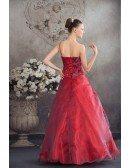 Burgundy Organza Floral One Shoulder Ballgown Red Wedding Dress