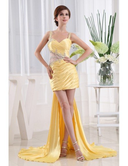 A-line Sweetheart Asymmetrical Satin Prom Dress With Beading
