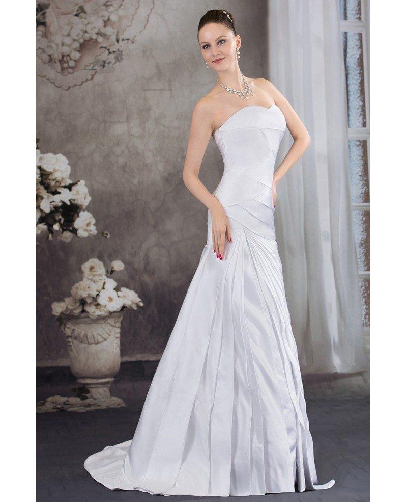 Sweetheart Mermaid Wedding Gown: Pleated Satin Sweetheart Mermaid Wedding Dress With Corset