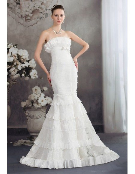 Strapless Fitted Mermaid Lace Layered Wedding Dress Oph1259 318 9 Gemgrace Com
