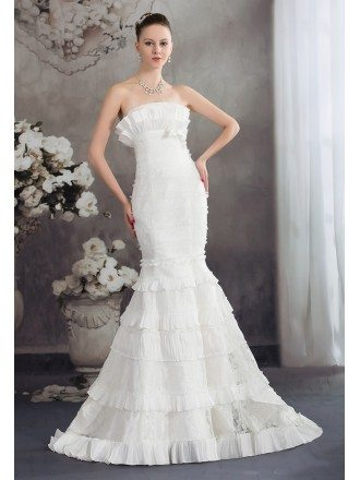 Strapless Fitted Mermaid Lace Layered Wedding Dress