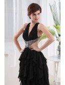 A-line V-neck Asymmetrical Chiffon Prom Dress With Beading