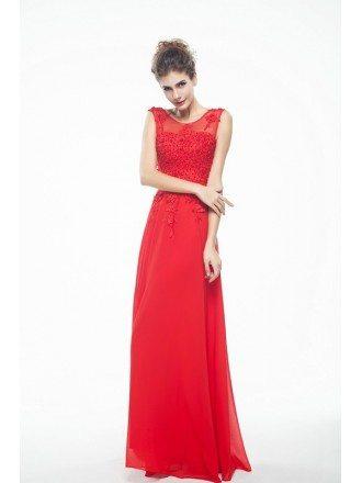 Lace Tank Top Empire Chiffon V-Back Bridesmaid Dress