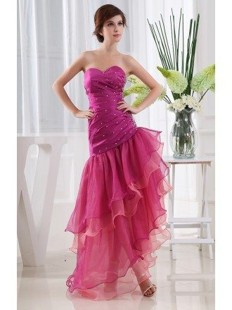 A-line Sweetheart Floor-length Tulle Prom Dress With Beading