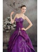 Purple Sweetheart Embroidered Taffeta Ballgown Color Wedding Dress
