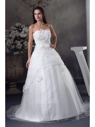 White Lace Tulle Strapless Ballgown Wedding Dress Custom